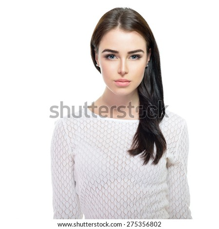 Portrait of young fashion girl over white - stock photo