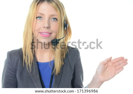 Portrait of young female call center operator isolated