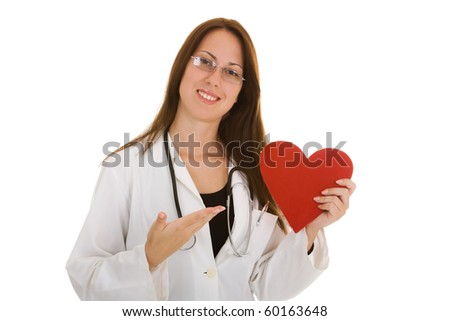 Portrait of young female doctor holding heart isolate on white background - stock photo