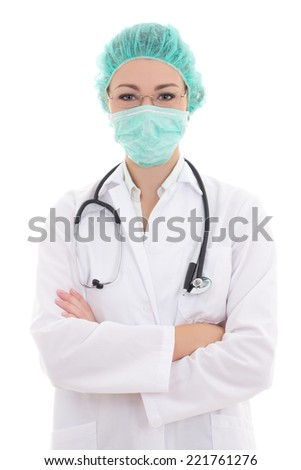 portrait of young female doctor in mask and cap isolated on white background