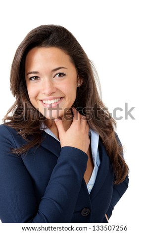 portrait of young female employee, isolated on white background - stock photo