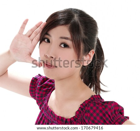 portrait of young female posing-hand gesture
