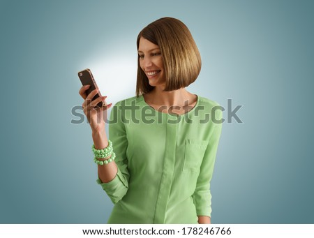 Portrait Of Young Girl Talking On phone - stock photo