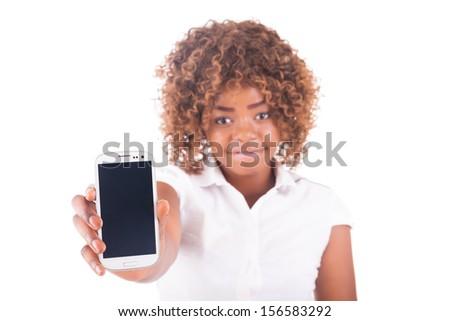 Portrait of young girl with on phone  isolated - stock photo