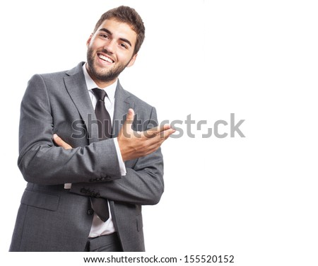 portrait of young handsome business man presenting gesture isolated on white - stock photo