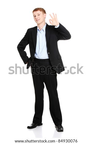 Portrait of young handsome businessman, gesturing perfect - stock photo