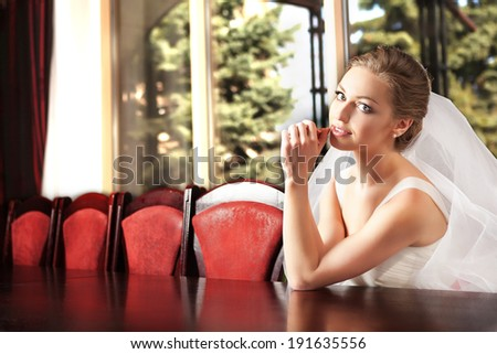 Portrait of young happy beautiful bride. - stock photo