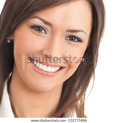 Portrait of young happy businesswoman, isolated over white background - stock photo