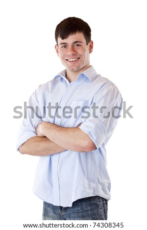Portrait of young, happy, casual man with crossed arms. Isolated on white background.