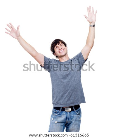 Portrait of young happy man with hands lifted upwards