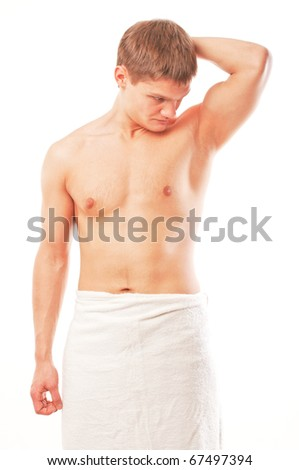 Portrait of young happy naked man isolated over white - stock photo