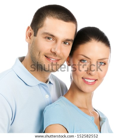Portrait of young happy smiling attractive couple, isolated on white background - stock photo