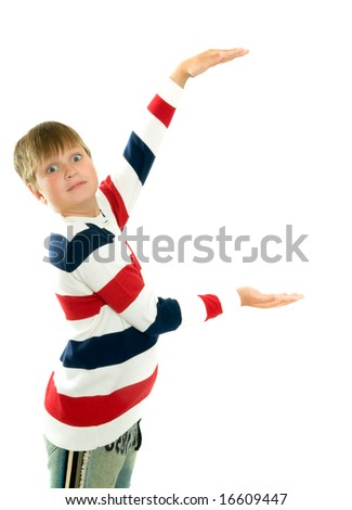 Portrait of young happy smiling boy gesturing, isolated on white - stock photo