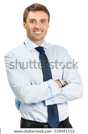 Portrait of young happy smiling business man, isolated over white background - stock photo