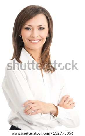 Portrait of young happy smiling business woman, isolated over white background - stock photo