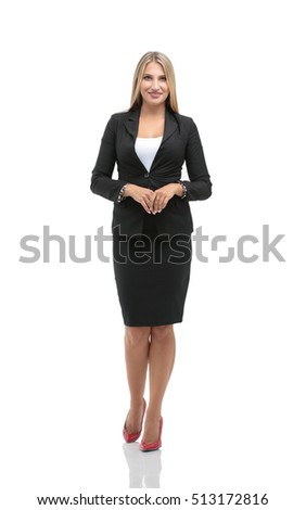 Portrait of young happy smiling businesswoman in suit isolated a