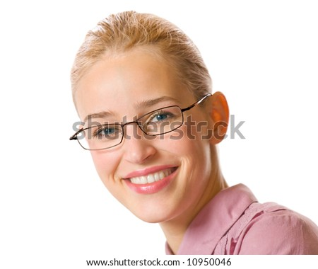 Portrait of young happy smiling businesswoman, isolated - stock photo