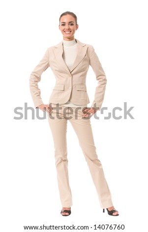 Portrait of young happy smiling businesswoman, isolated on white - stock photo