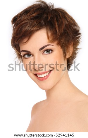 Portrait of young happy smiling fresh woman with clear makeup
