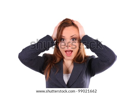 Portrait of young happy smiling surprised business woman, isolated - stock photo