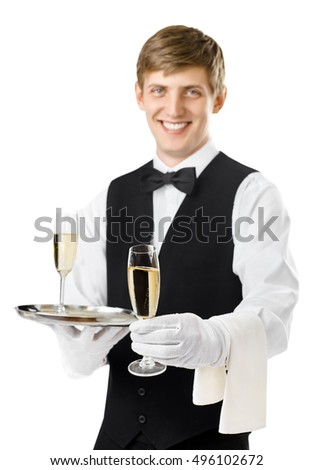 Portrait of young happy smiling waiter serving champagne on a tray and offer one glass isolated on white background