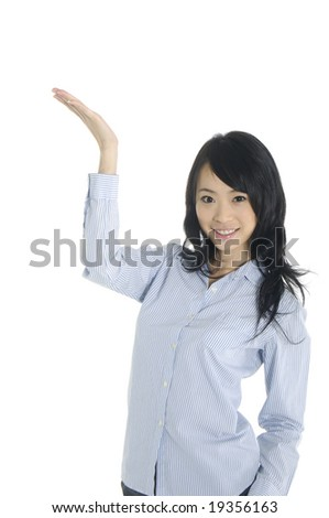 Portrait of young happy smiling woman gesturing, isolated on white - stock photo