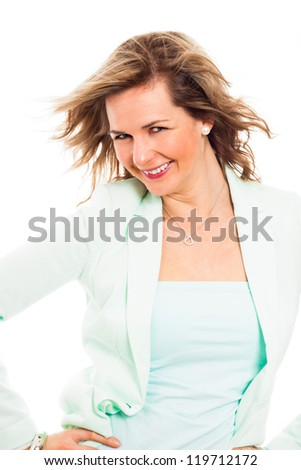Portrait of young happy smiling woman, isolated on white background. - stock photo