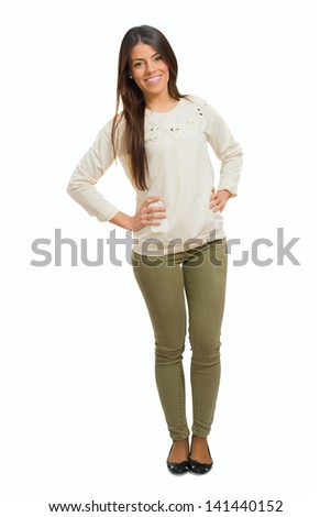 Portrait Of Young Happy Woman Isolated Over White Background - stock photo