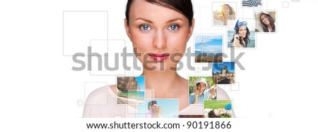 Portrait of young happy woman sharing his photo and video files in social media resources. Studio shot isolated against white background - stock photo