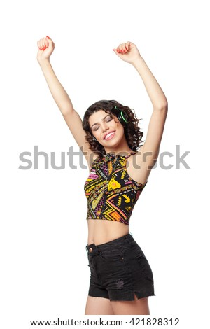 Portrait of young hippie woman, isolated on white - stock photo