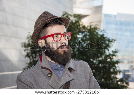 portrait of young hipster businessman - stock photo