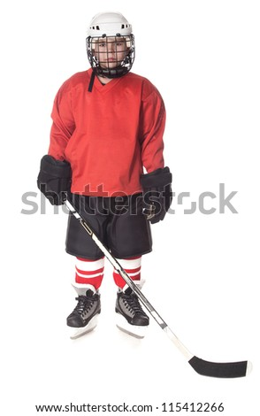 Portrait of young ice hockey player isolated - stock photo