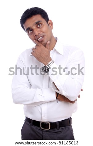 Portrait of Young Indian businessman. Isolated on white background