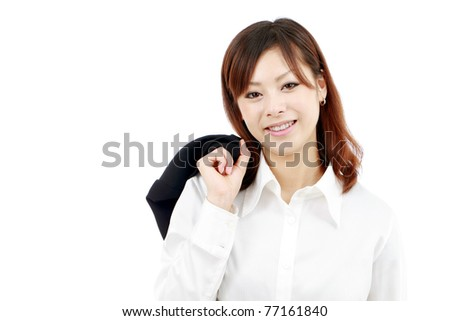 Portrait of young japanese woman with jacket on shoulder - stock photo