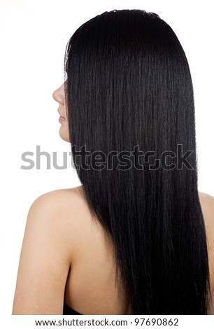 Portrait of young latina woman with long hair - isolated - stock photo