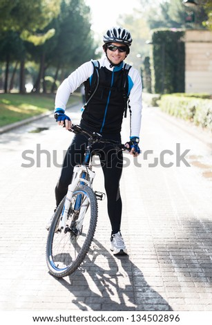 Portrait Of Young Male Cyclist; Outdoors