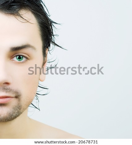 Portrait of young man after bath. - stock photo