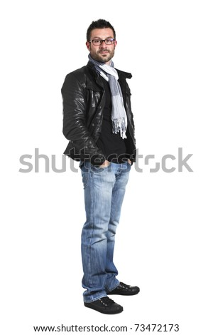 portrait of young man dressed casual on white background