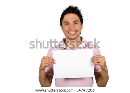 Portrait of young man holding a blank page in front of his body and smiling isolated on white background,copy spavce for text in left part of photo also