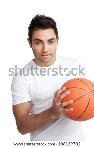 Portrait of young man holding basketball isolated on white background. - stock photo