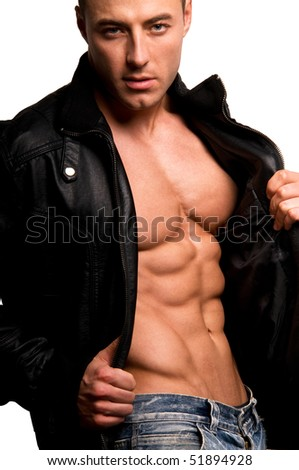 Portrait of young man in a leather jacket isolated on white. - stock photo