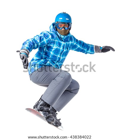 Portrait of young man in sportswear with snowboard isolated on a white background. - stock photo
