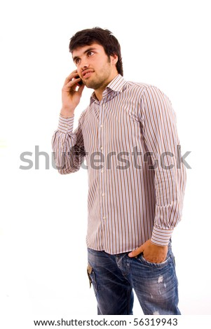 portrait of young man on the phone, isolated on white - stock photo