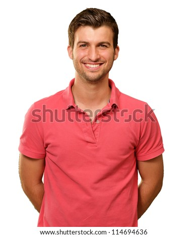 Portrait of young man smiling isolated on white background