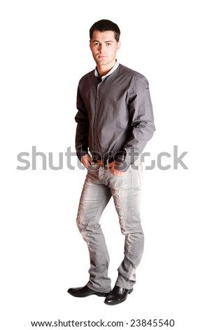 Portrait of Young man standing isolated on white - stock photo