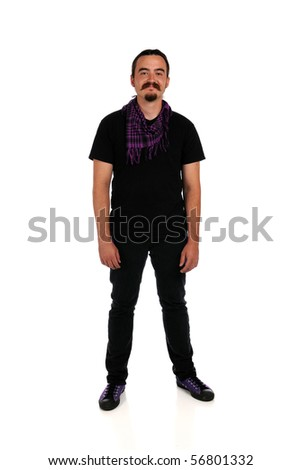 Portrait of young man standing isolated over white background
