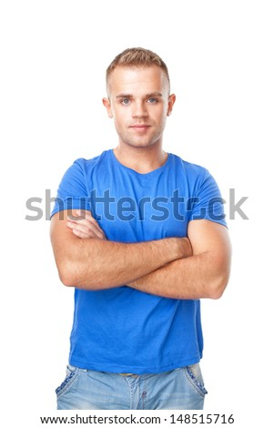 Portrait of young man standing with hands folded against isolated on white background