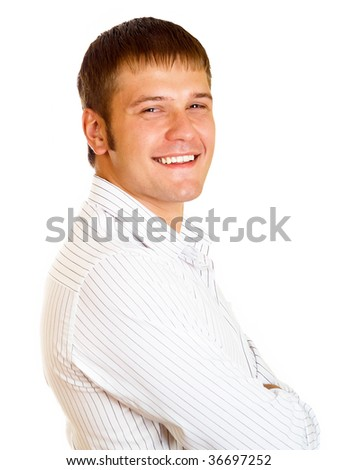 Portrait of young man with hands folded isolated on white background - stock photo