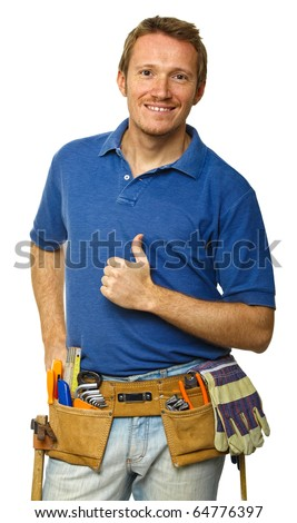 portrait of young manual worker thumb up isolated on white - stock photo