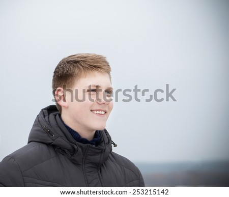 portrait of young men outdoor - stock photo